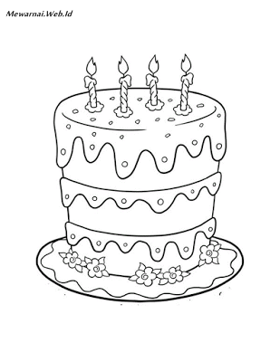 Kumpulan Sketsa Gambar Kue Ulang Tahun Dunia Mewarnai