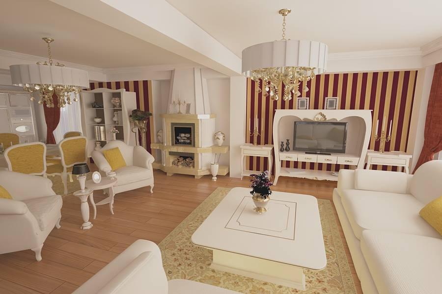 Design interior living cu bucatarie casa moderna - Bucuresti