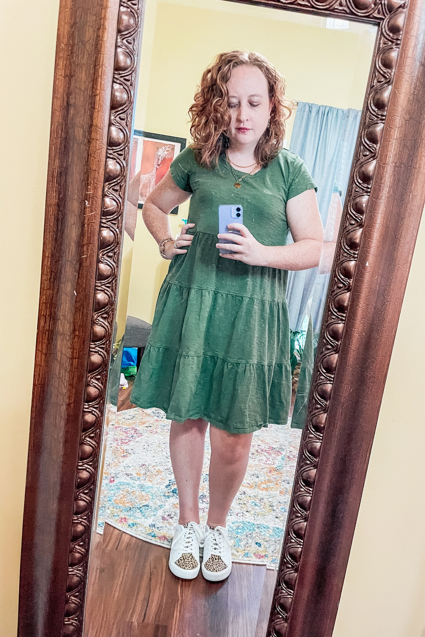 olive-green-tiered-tshirt-dress-leopard-sneakers
