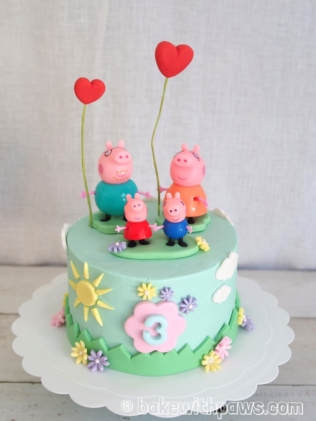 Peppa Pig Theme Cake Specially For My Good Friends 3 Years Old Princess Birthday It Is Two Layers Of 7 Inch Banana Chocolate Icing With Swiss