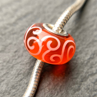Handmade lampwork silver core big hole charm bead by Laura Sparling made with CiM Goldfish