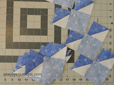 no waste flying geese method dazzle quilt along