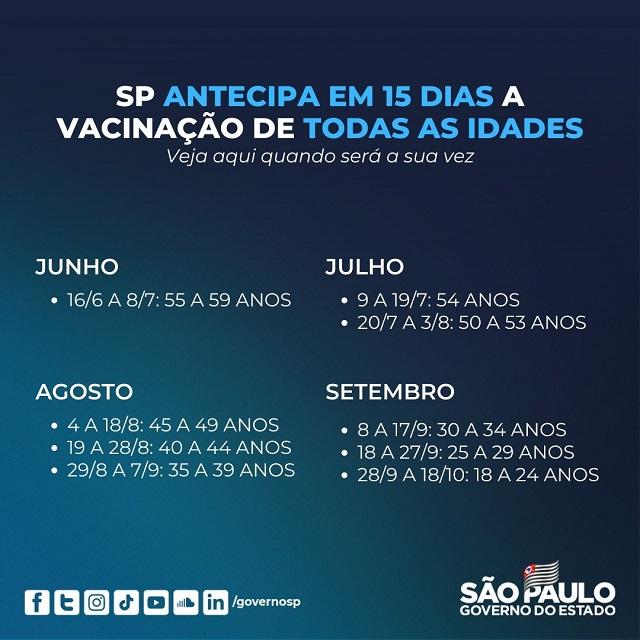São Paulo antecipa em 15 dias a vacinação de todas as idades
