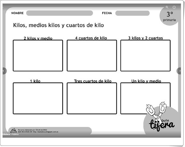 """""""Kilos, medios kilos y cuartos de kilo"""" (Fichas recortables de Matemáticas de Primaria)"""