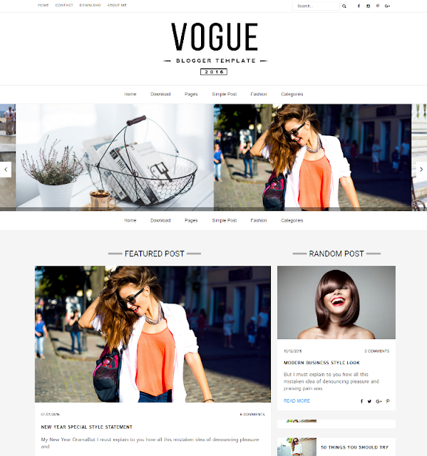 Vogue 2016 - Personal Blogger Template