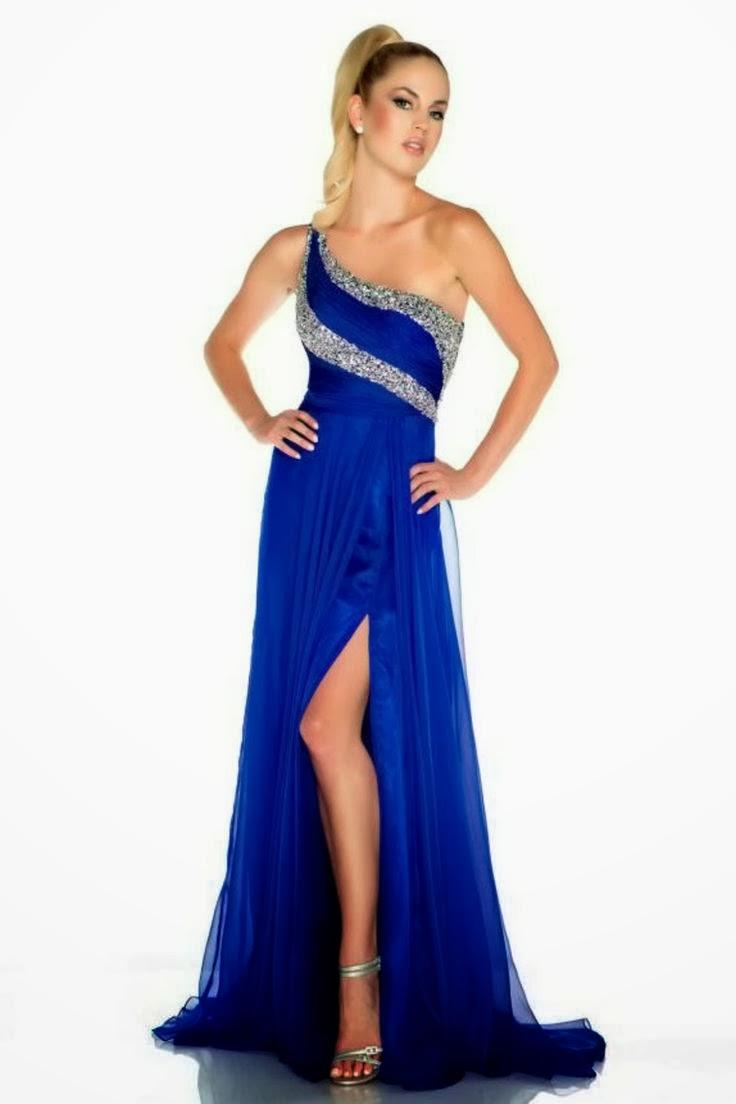 Modelos de vestidos largos color azul