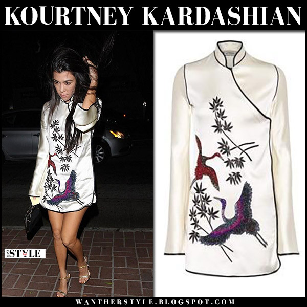 Kourtney Kardashian in white bird embellished kimono mini dress attico september 19 2017 night out fashion