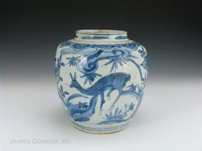 """<img src=""""Chinese Ming Deer jar.jpg"""" alt=""""blue and white porcelain jar with deer"""">"""