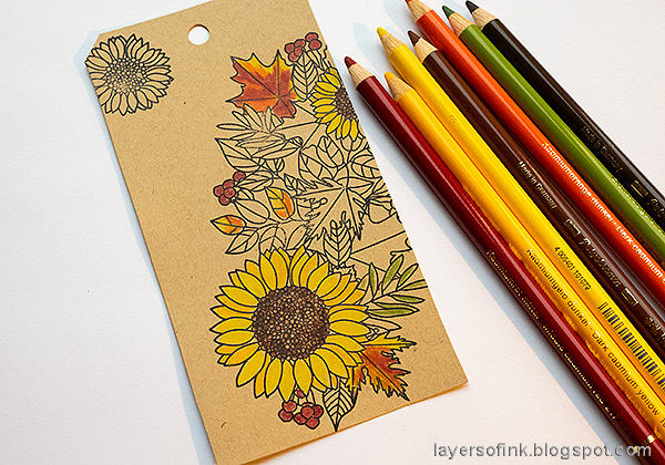 Layers of ink - Leaves on Kraft Tutorial by Anna-Karin Evaldsson. Color with Faber-Castell Polychromos pencils.