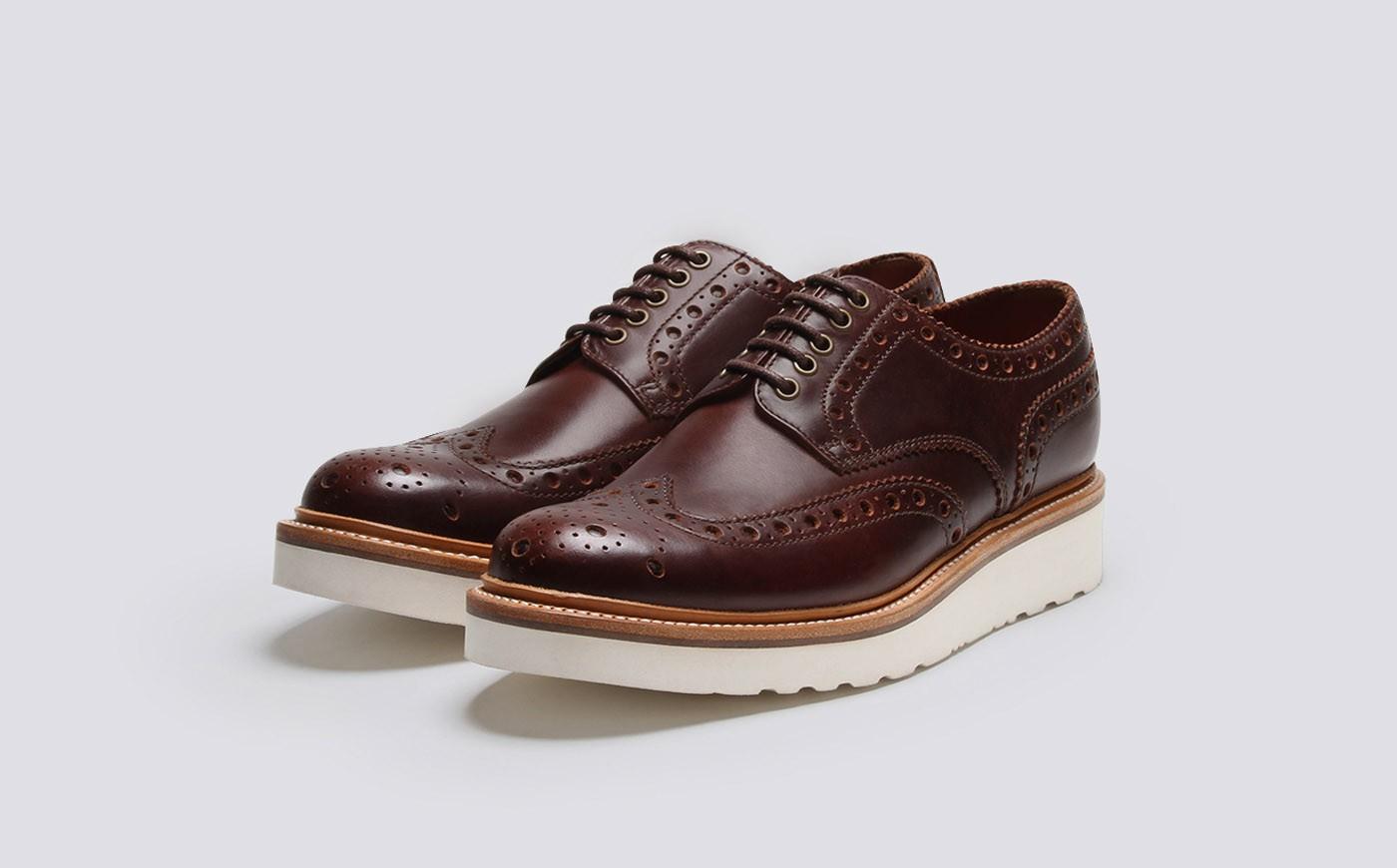 Mens Blue Leather Brogue Shoes