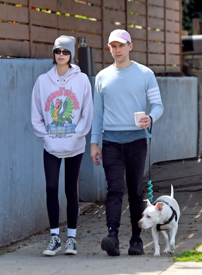 Kaia Gerber Clicked Outside on a dog walk in Los Angeles Mar 2020