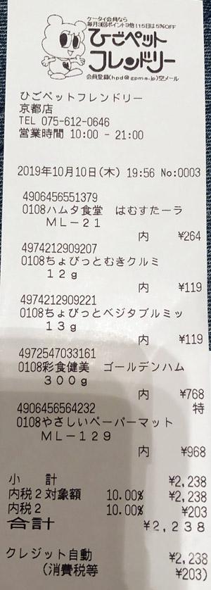 ひごペットフレンドリー 京都店 2019/10/10のレシート