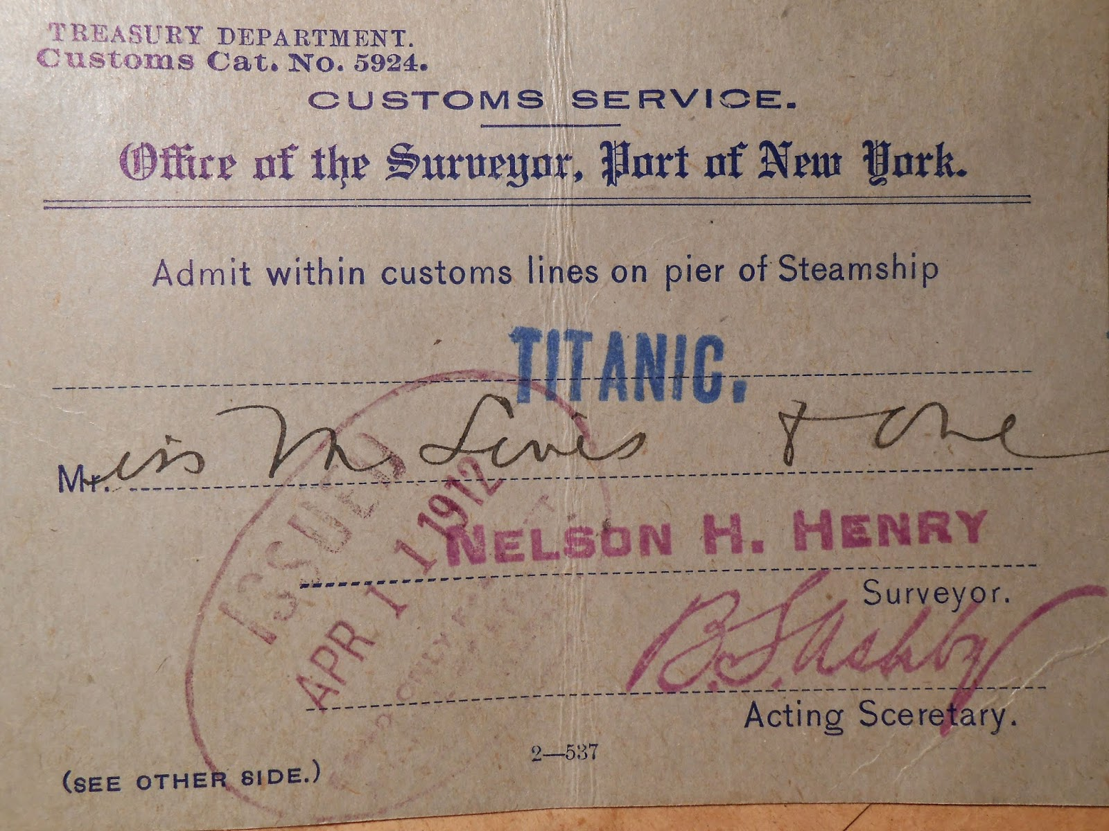 A photograph of the ticket for the Titanic.