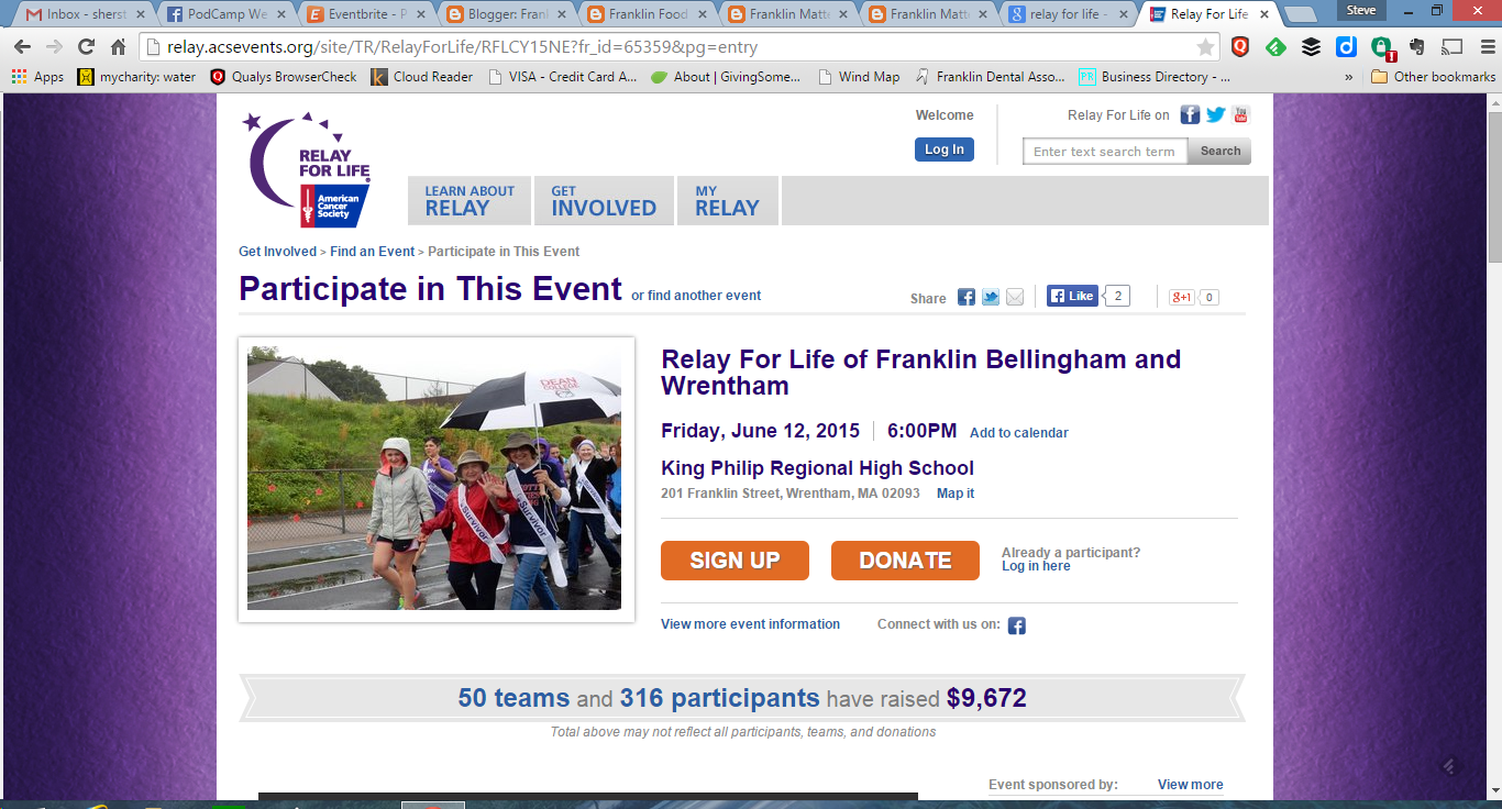 screen grab from Franklin Bellingham Wrentham Relay for Life webpage