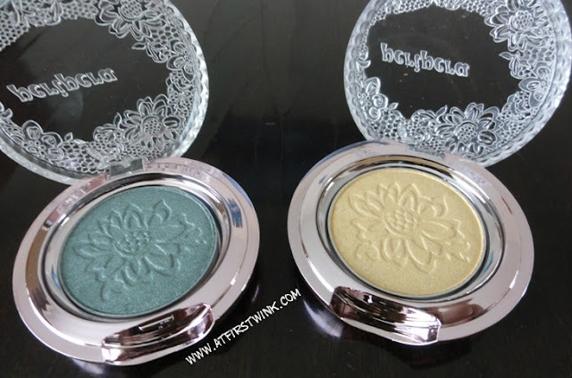 Peripera eyeshadow mono 36 (forest green) and 1 (yellow)