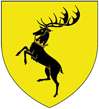 Escudo Baratheon: Venado negro sobre fondo amarillo