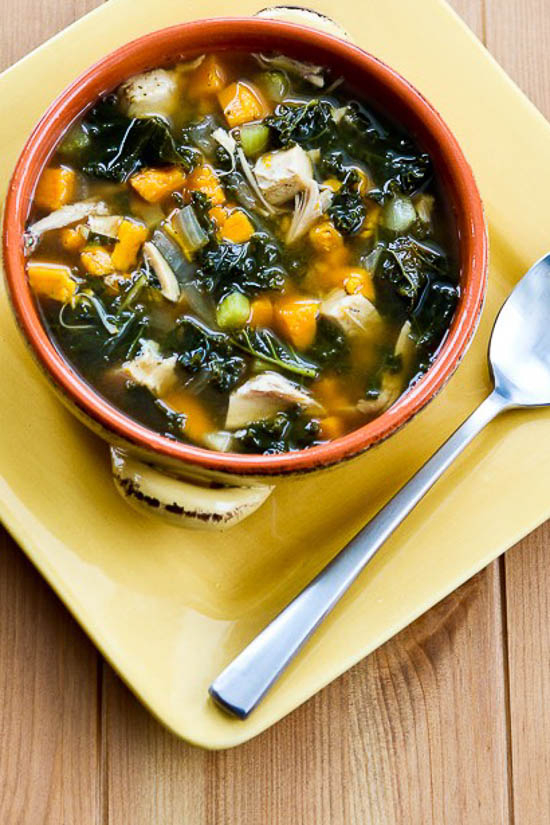 Slow Cooker Turkey (or Chicken) Soup with Kale and Sweet Potatoes found on KalynsKitchen.com