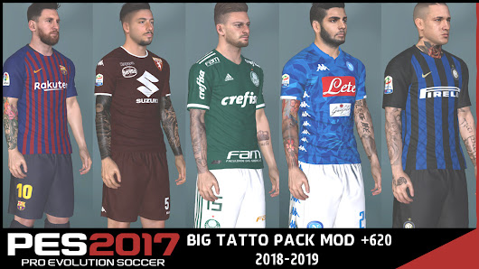 PES 2017 Next Season Patch 2019 Tattoo Pack +620