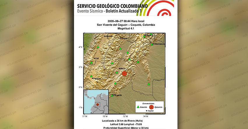 Temblor en Colombia de Magnitud 4.0 (Hoy Jueves 27 Agosto 2020) Terremoto - Sismo - Epicentro - San Vicente del Caguán - Caquetá - En Vivo Twitter - Facebook - www.sgc.gov.co