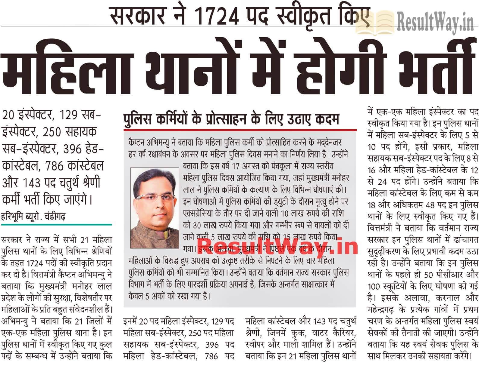 Haryana Police Jobs Female Constables, ASI, SI, Head Constable