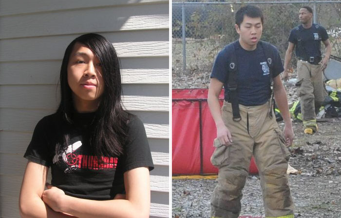 #6 I Became A Fireman, If I Talked To Myself 8 Years Ago And Said You Would Cut Your Hair And Become Part Of The Fire Department I Would've Never Believed Myself - 10 Before & After Pics Of Rebellious Teenagers