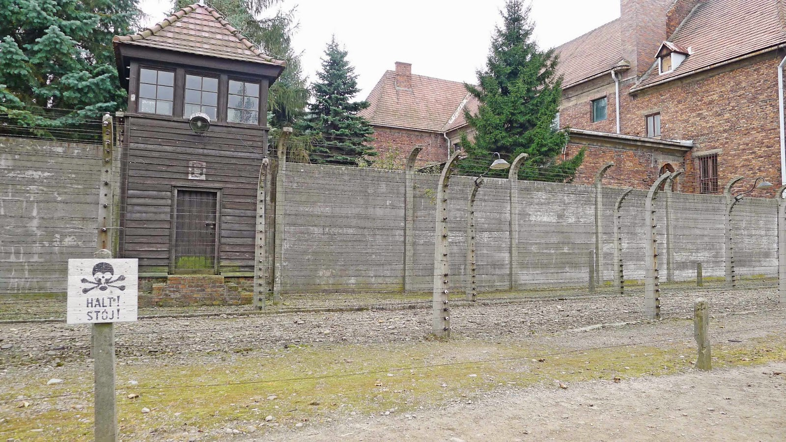 Auschwitz Tower and Barbed Wire Gates