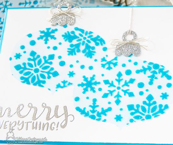 Merry Everything Card by Tatiana Trafimovich | Ornament Shaker Die Set , Sentiments of the Season Stamp Set and Snowfall Stencil by Newton's Nook Designs #newtonsnook #handmade