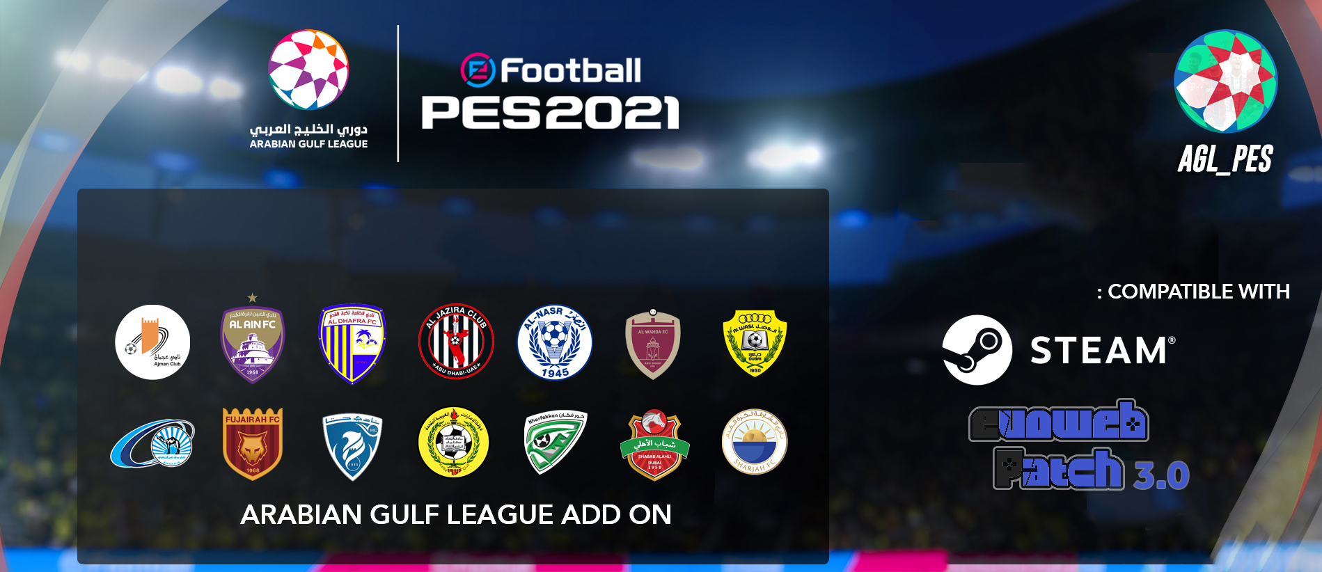 PES 2021 Arabian Gulf League Add On For EvoWeb Patch 2021 [version 3.0]