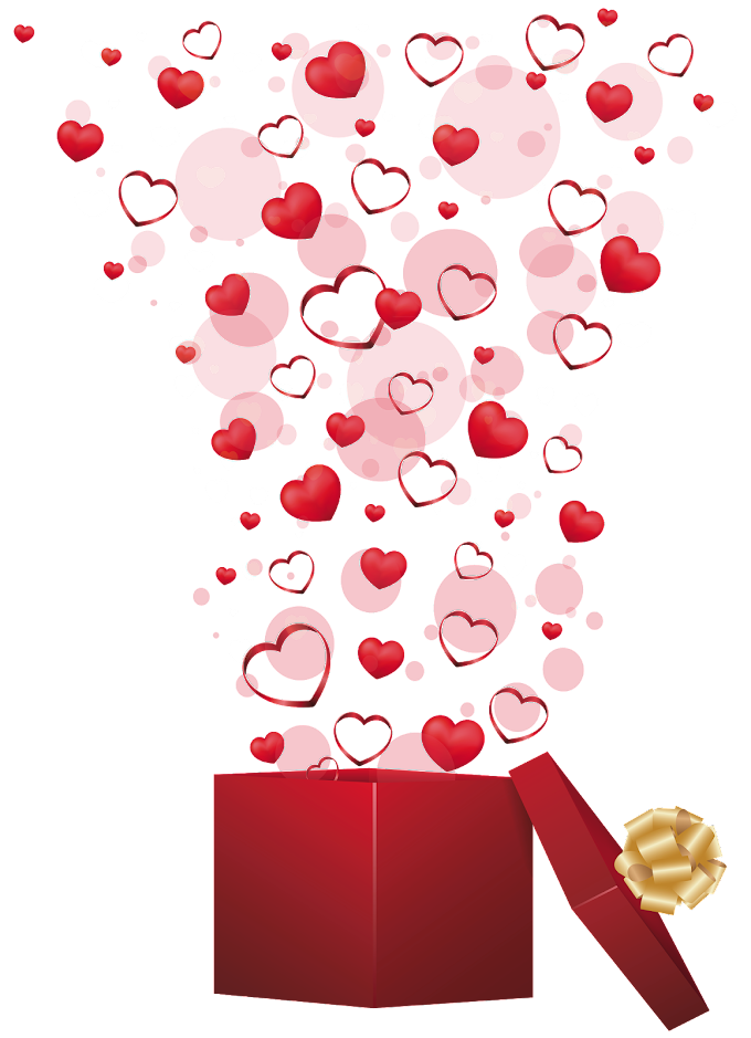Valentine's Day Gift Heart, Red Gift with Hearts, exploding heart on open gift box illustration, love, wish, wedding png free png by pngkh.com
