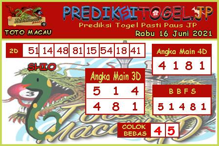 Prediksi Togel Toto Macau JP Rabu 16 Juni 2021