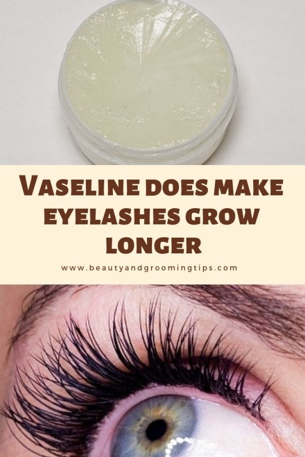 photo of vaseline and an eye with thick, long eyelashes