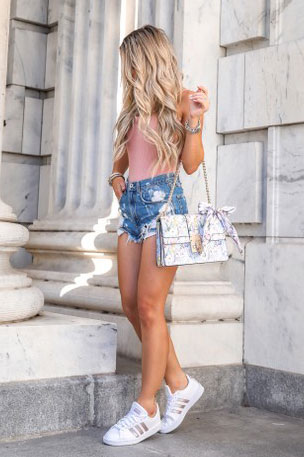 Cami Bodysuit + High Rise Distressed Denim Shorts + Handbag | 17 Nice Fall Outfits When You Hate Everything You Own