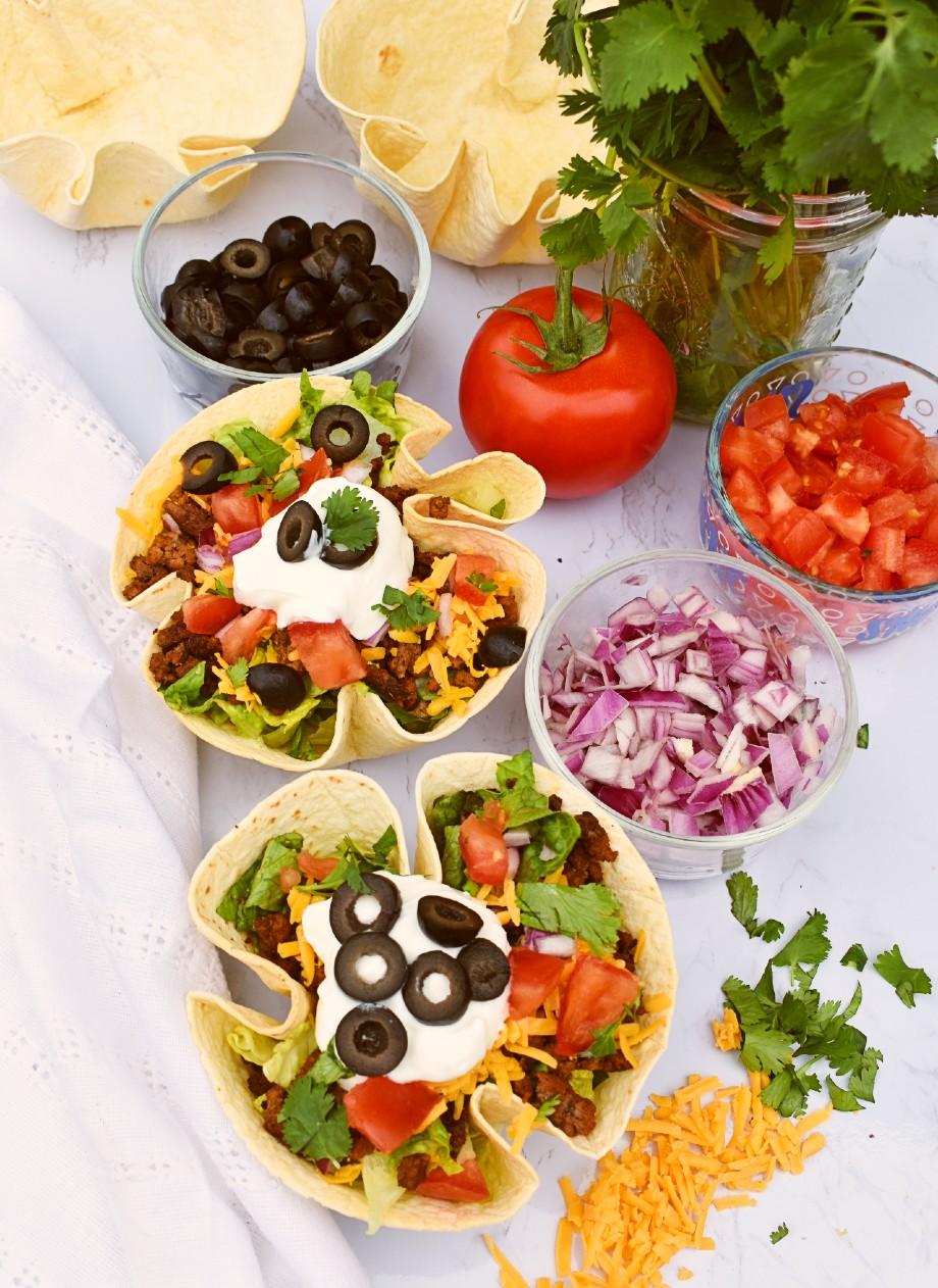 Taco Salad with Homemade Tortilla Bowls