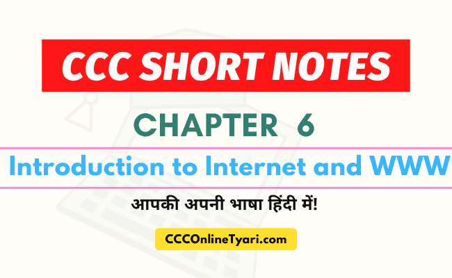 Ccc One Liner Chapter 6, Introduction To Internet And Www, Ccc Chapter 6 Short Notes, Ccc Short Notes Chapter 6, Notes For Ccc Exam In Hindi, Ccc Book Pdf In Hindi, Nielit Ccc Book Pdf In Hindi.