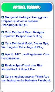 Membuat Widget Artikel Terbaru Seperti Blog Serieswans
