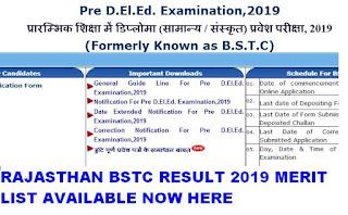Rajasthan BSTC Result 2019 Merit list @ bstc2019.org 1