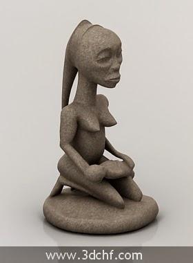 ethnic statue 3d model free