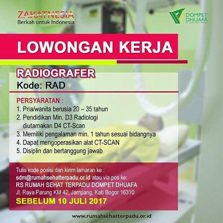 Lowongan Radiografer Rs Rumah Sehat Terpadu Dompet Dhuafa Bogor Juli 2017 Loker Tenaga Medis