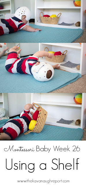 In Montessori baby spaces an open shelf can help to maintain order and make toys accessible to babies. Here are some tips on how to use a shelf in a baby play space.