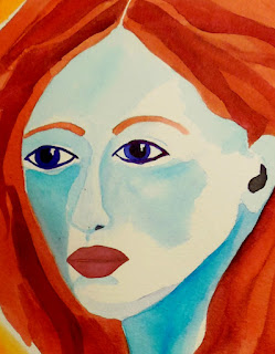 Warrior Woman with Red Hair Original Watercolor Painting