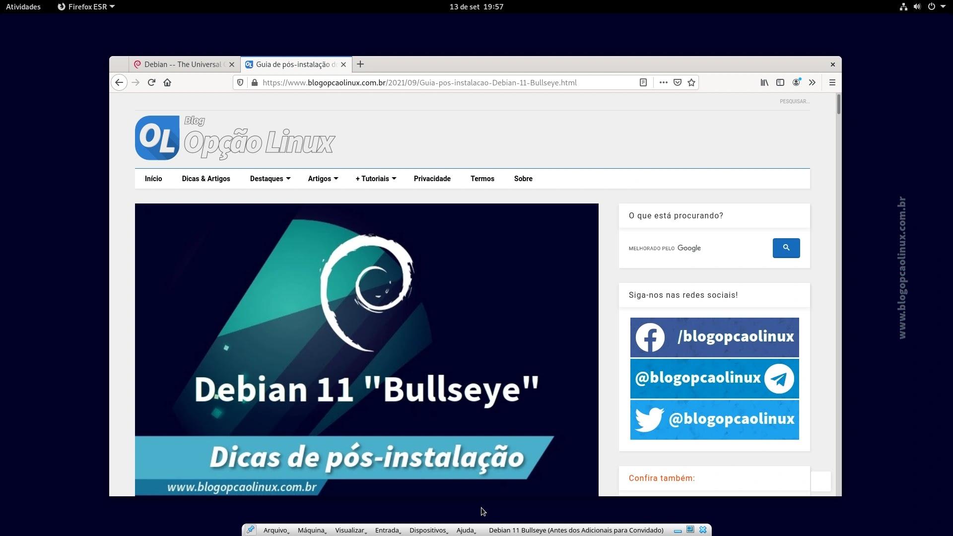 Máquina virtual do Debian 11 Bullseye em tela cheia após a instalação dos Adicionais para Convidado