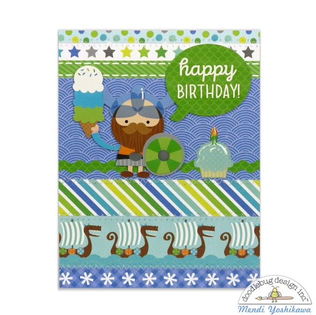 Doodlebug Design Dragon Tales Vikings Birthday Card by Mendi Yoshikawa