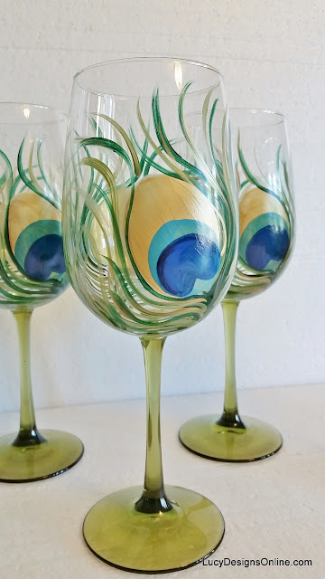 peacock feather painted glasses