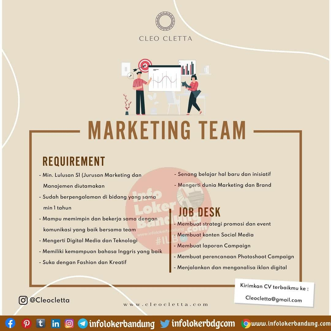 Lowongan Kerja Marketing Team Cleo Cletta Bandung Oktober 2020