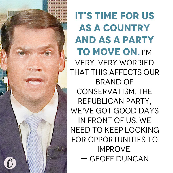 It's time for us as a country and as a party to move on. I'm very, very worried that this affects our brand of conservatism. The Republican Party, we've got good days in front of us. We need to keep looking for opportunities to improve. — Georgia Lt. Gov. Geoff Duncan, a Republican