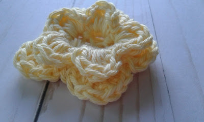 yellow rose, crocheted