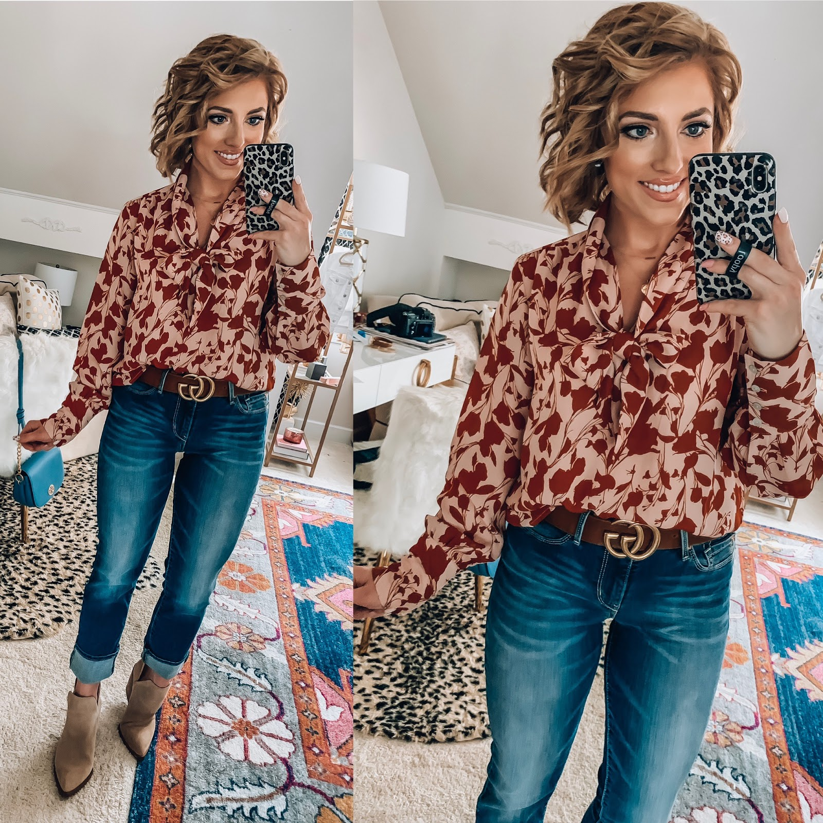 Target Fall Finds: Part One - Under $30 Blush/Rust Floral Blouse + Under $30 Jeans - Something Delightful Blog