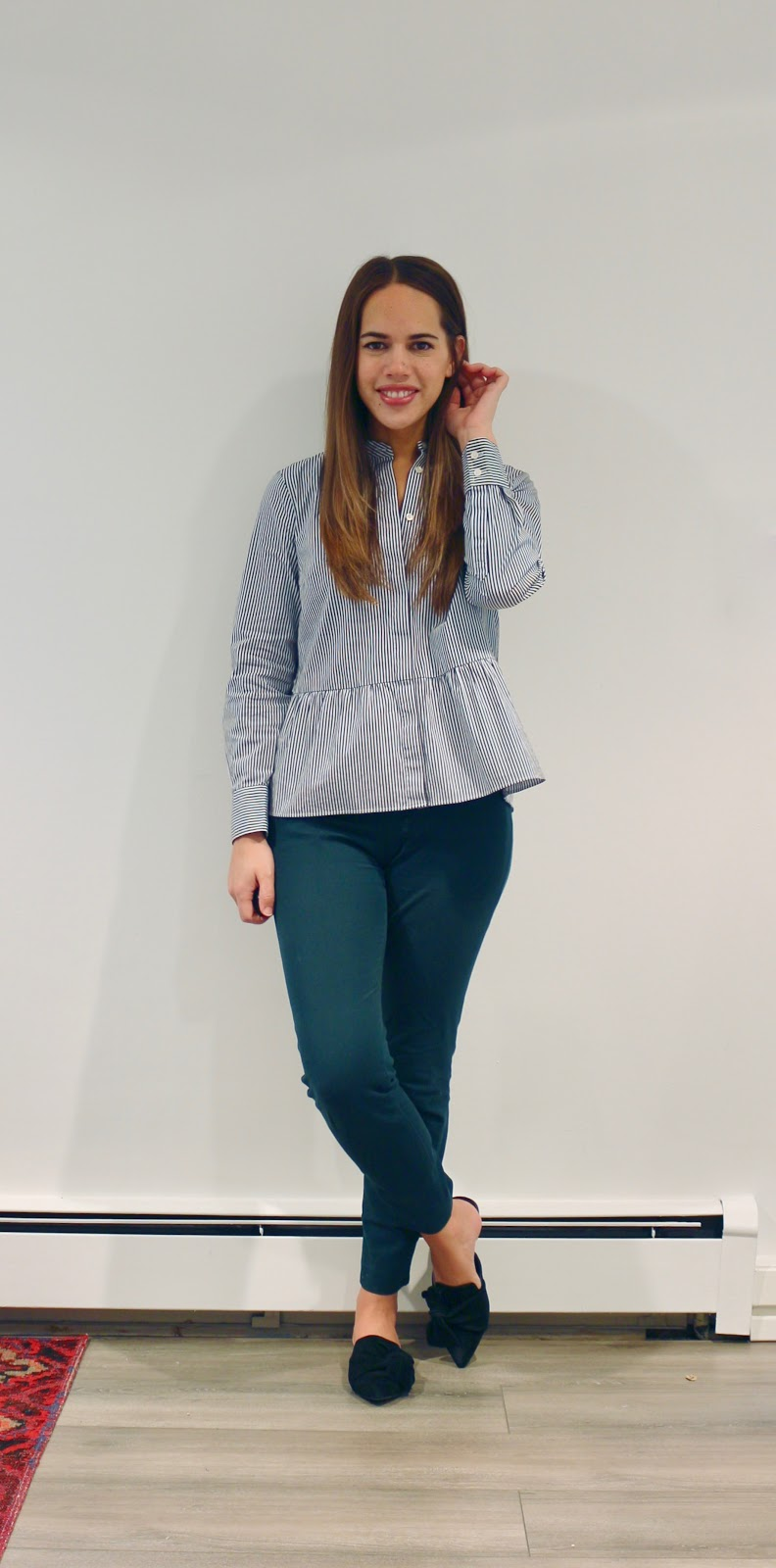 Jules in Flats - J.Crew Striped Peplum Button Up (Business Casual Fall Workwear on a Budget)