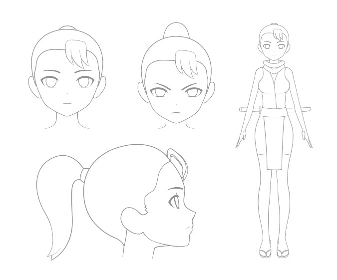 Membuat sketsa karakter manga atau anime