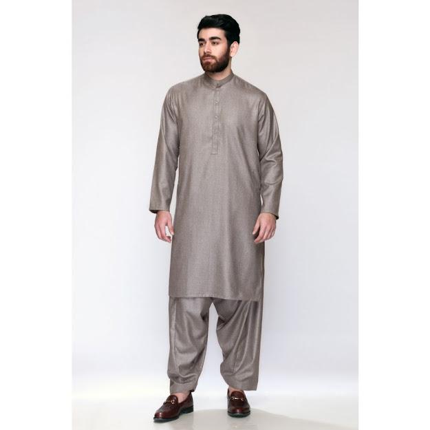 Men's winter opus colour Shalwar Kameez in brown
